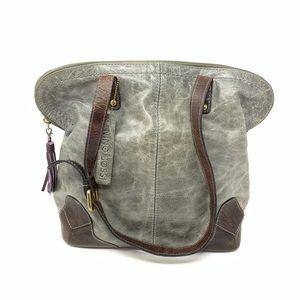Nino Bossi Elena Dome Satchel Textured Leather Bag